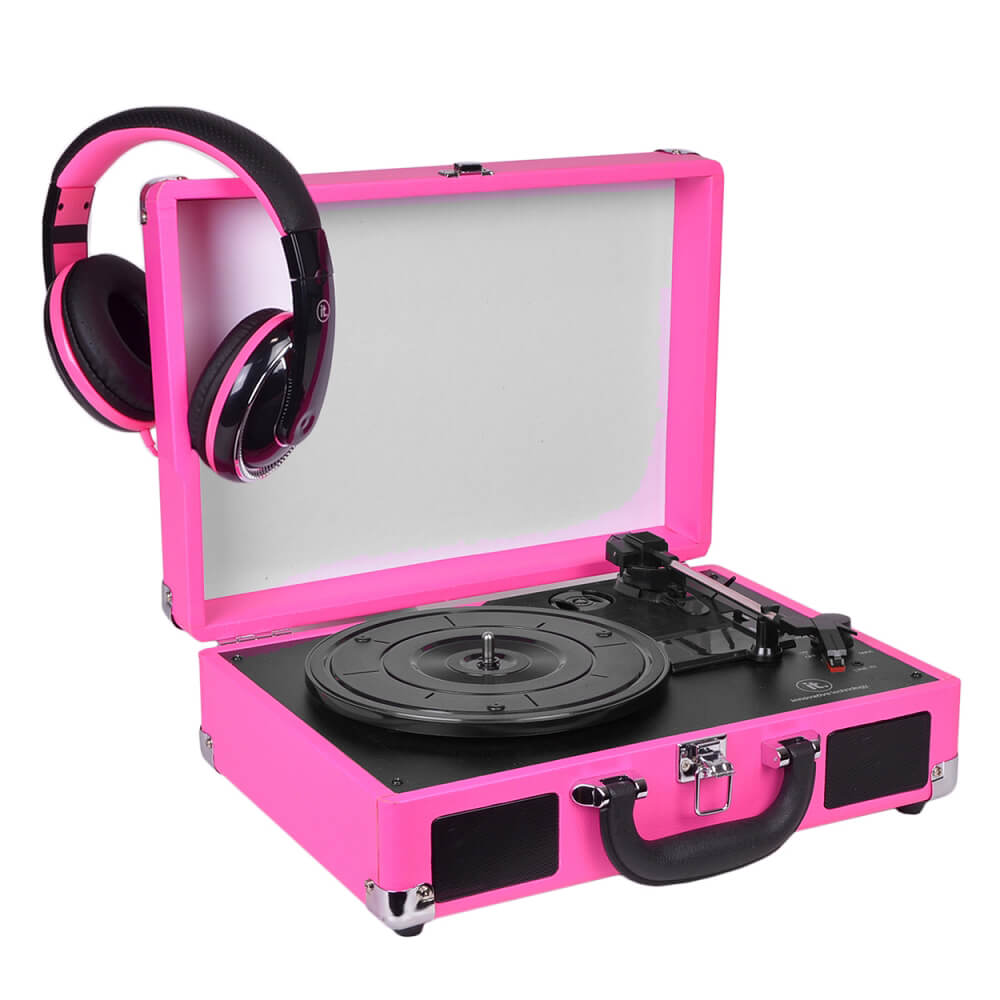 Refurbished Innovative Technology ITVS-550B 3-Speed Suitcase Turntable w/ Headphones Pink