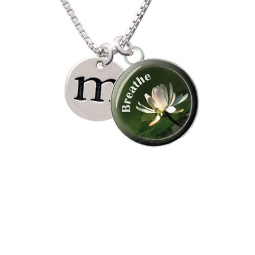"Disc 1/2'' Initial - m - Breathe with Flower Glass Dome Necklace, 18""+2"""