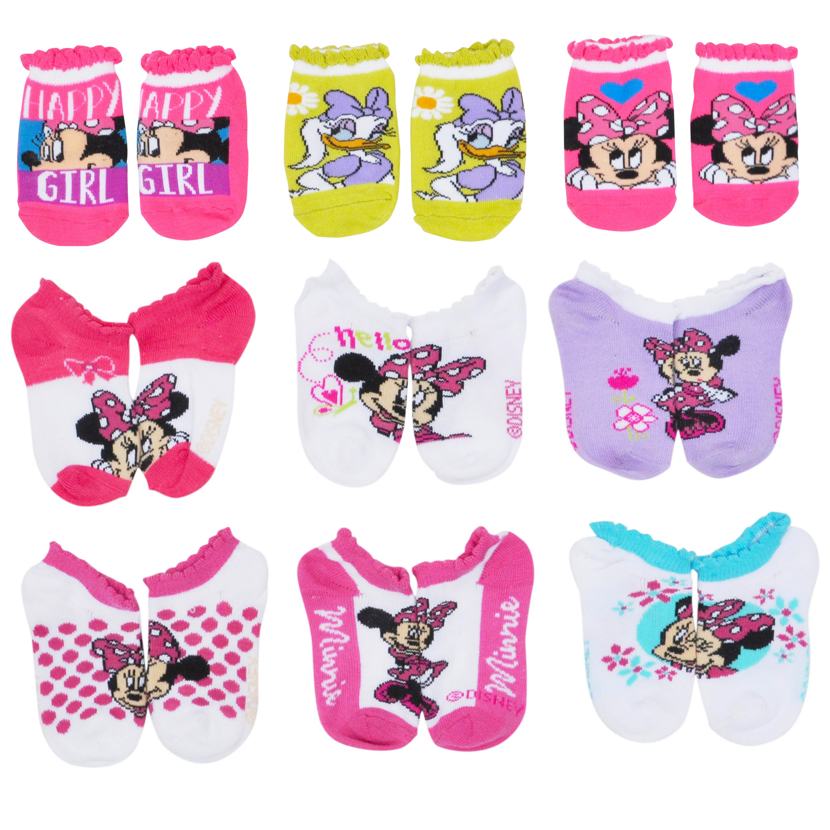 1e77f01ad80f2 Toddler Girls Minnie Mouse Daisy Duck Ankle Socks Size 2-4 9-Pairs