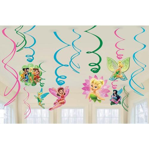 Tinkerbell Plastic Swirl Hanging Decorations (12 Pack) - Party Supplies