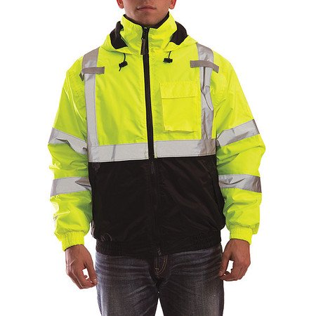 Bomber II Hooded Jacket, Fluorescent Yellow/Green/Black, XL