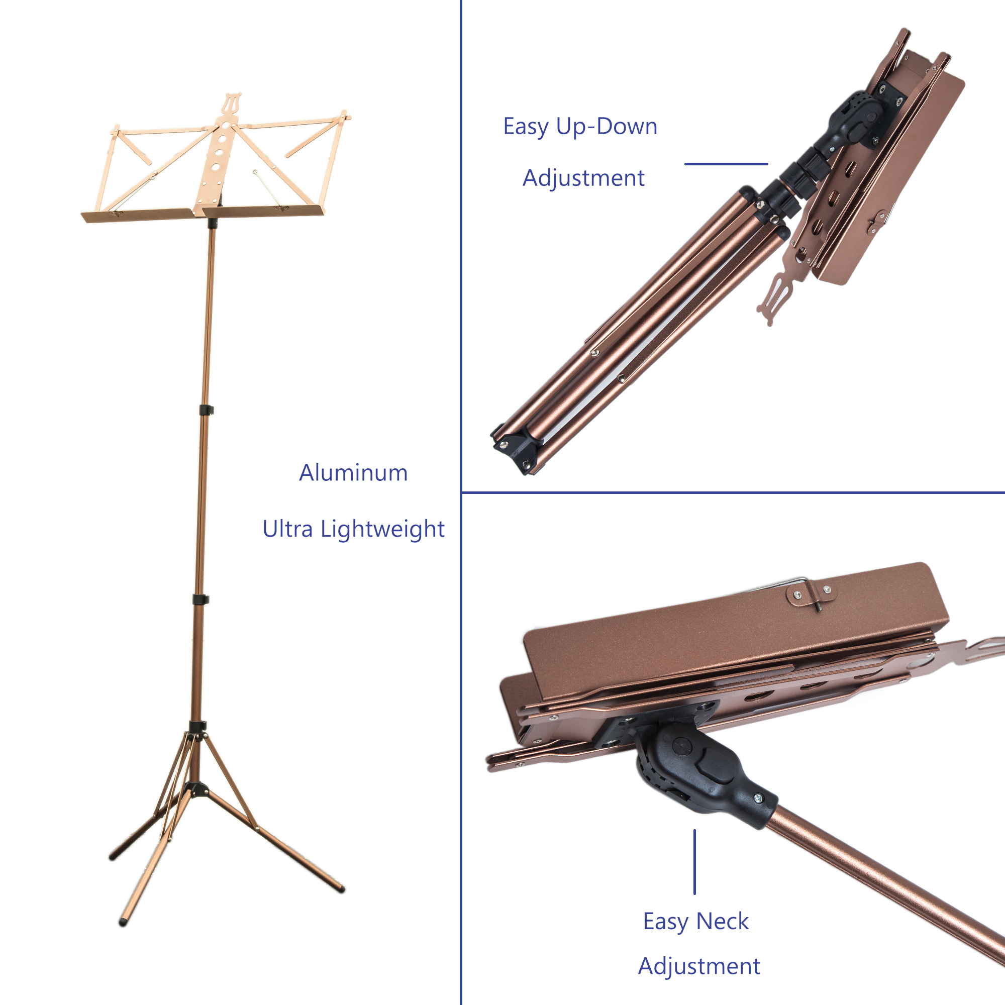 Paititi Brand New Strong Durable Adjustable Folding Music Stand with Carrying Bag-Coffee