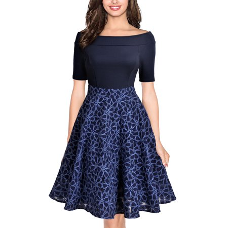 - MIUSOL Women's Vintage 1950s Casual Evening Cocktail Party A Line Dresses Contrast Floral Off Shoulder Wedding Bridesmaid Swing Dresses for Women,Short Sleeve,Empire Waist,Knee Length,Navy L