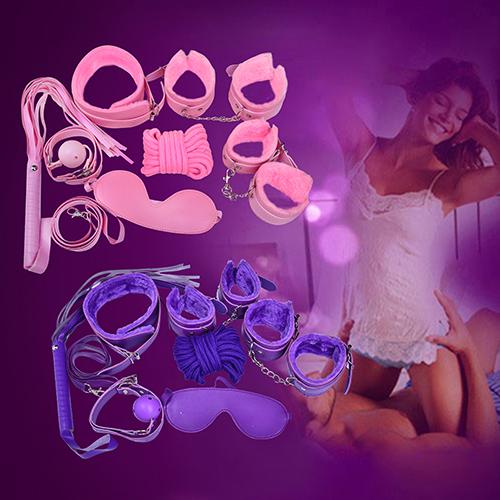 Girl12Queen 7 Pcs Restraint Bondage Plush Cuffs Strap Whip Rope Neck Adult Sex Game Toys Set