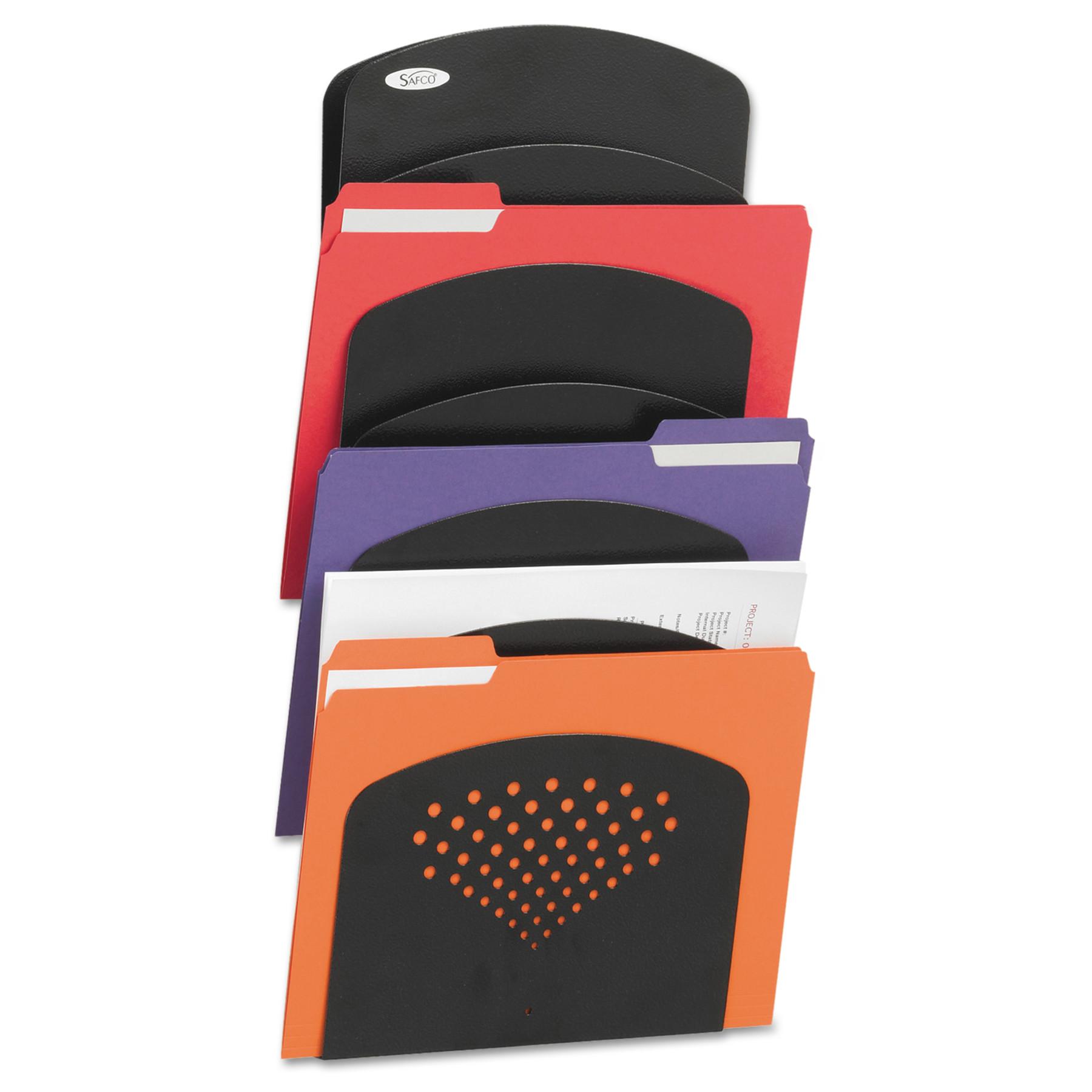Safco Steel Wall Rack, Letter/Legal, Seven Pocket, Black, 91/2 x 2 x 21 3/4