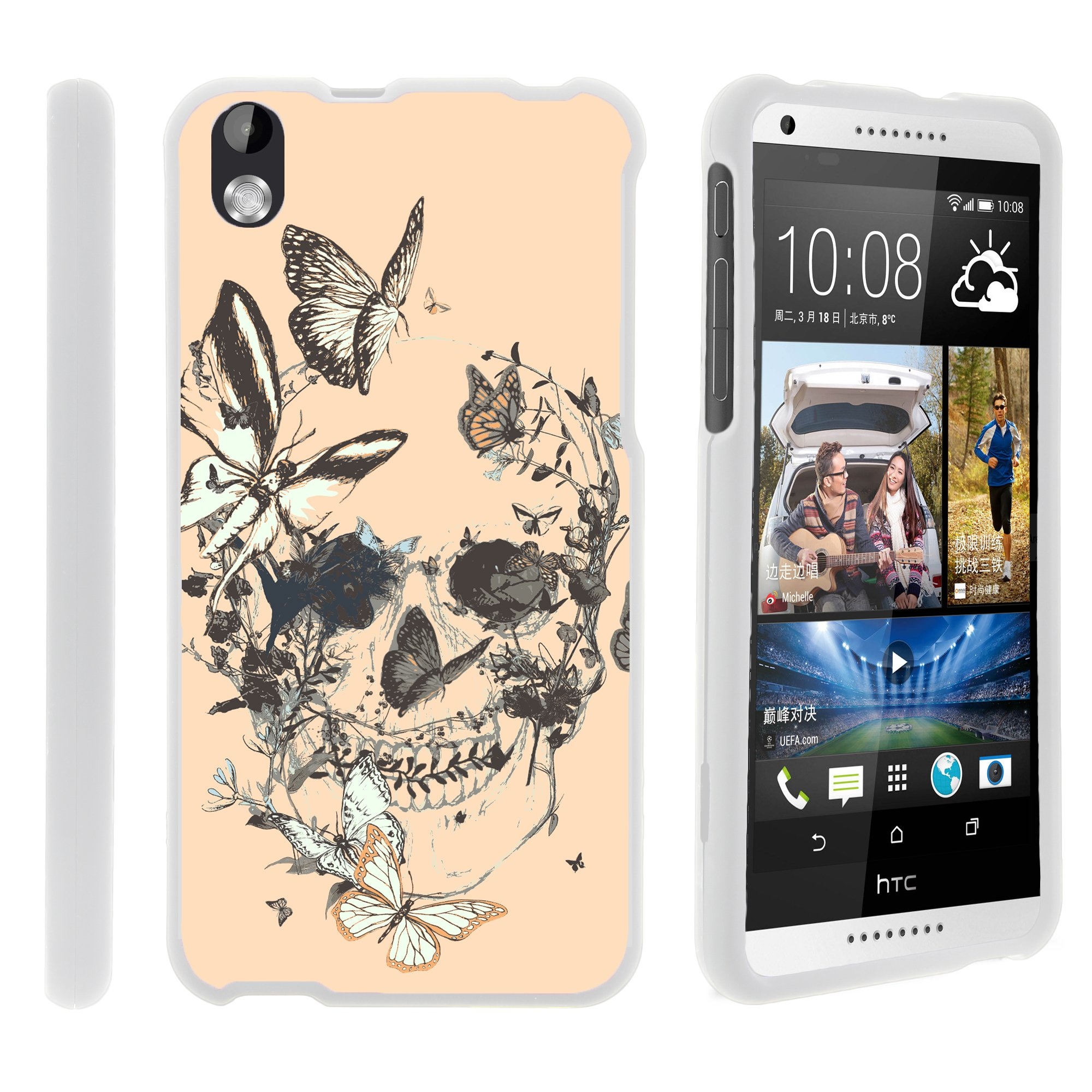 HTC Desire 816, [SNAP SHELL][White] Hard White Plastic Case with Non Slip Matte Coating with Custom Designs - Fruity Rose Pattern