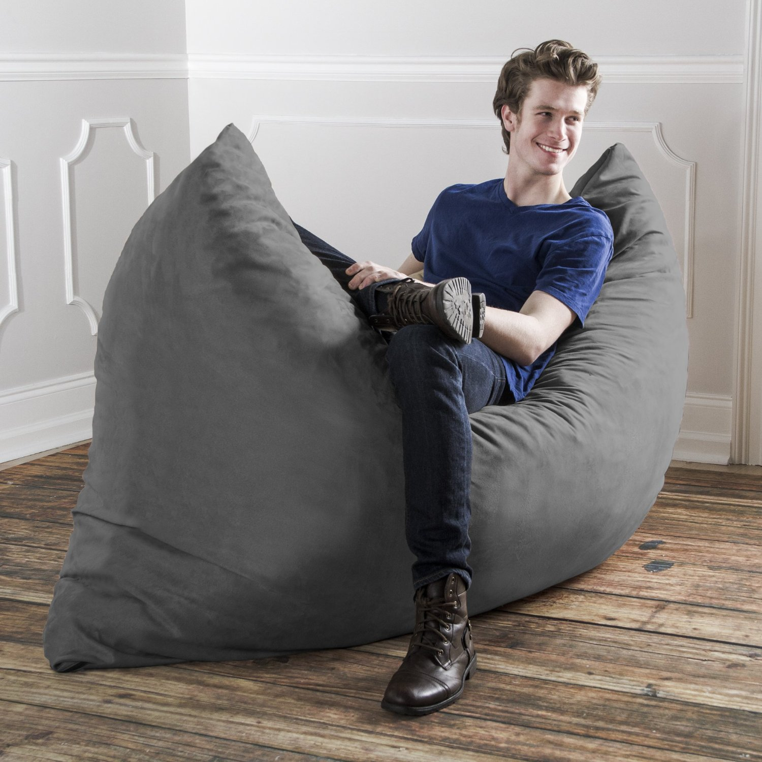 Jaxx Pillow Saxx 5.5' Giant Bean Bag Pillow, Charcoal