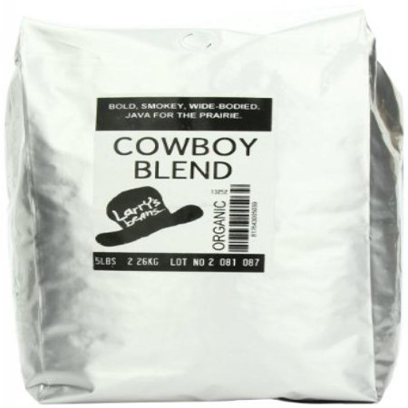 Larry S Coffee Organic Fair Trade Whole Bean Cowboy Blend 5 Pound Bag