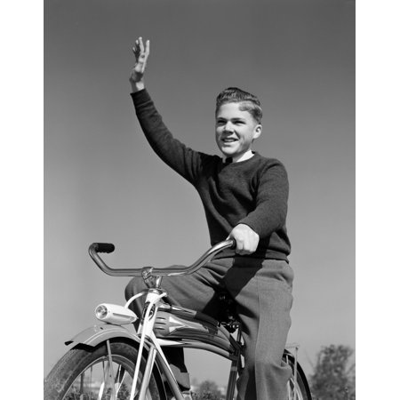1940s-1950s Smiling Boy Riding Bike Waving Arm In Air Poster Print By Vintage Collection
