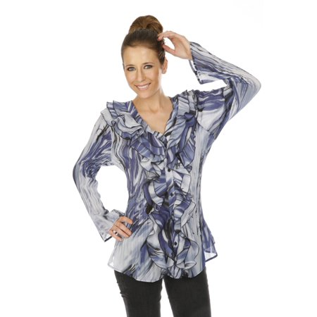 5809ff1c9ed80 Cathaya Women s Navy Gray Print Ruffle Adorned Pleated Plus Size Shirt