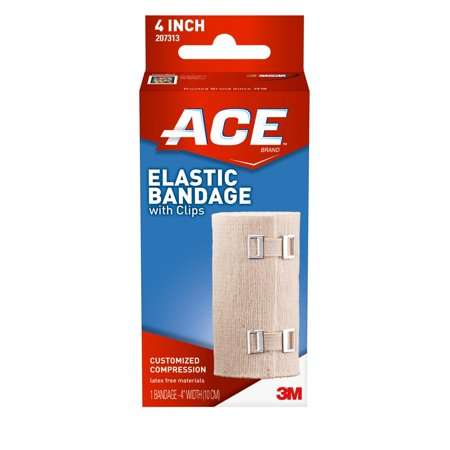 ACE Brand Elastic Bandage with Clips, 4 in., Beige, 1/Pack Ace Bandage Ankle Support