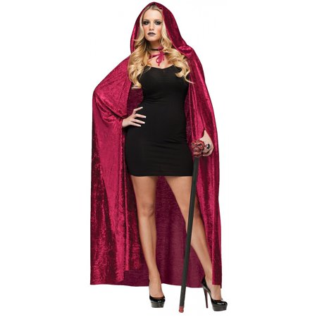 Velvet Hooded Cape Adult Costume Accessory Burgundy Red - Standard - Black Cape Hood