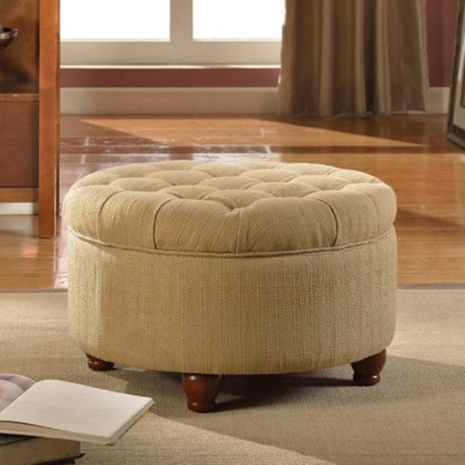 HomePop Tan And Cream Tweed Tufted Storage Ottoman