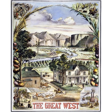 The Great West 1881 Namerican Lithograph With Scenes Of Farming Mining Hunting And River Life In The American West Poster Print By Granger Collection