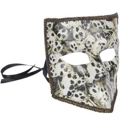 Star Power Halloween Skull Faces Square Adult Mask, White Black, One Size - Painting A Skull Face For Halloween
