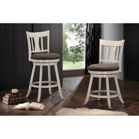 Acme Furniture Tabib Fabric And White Wood Counter Height Chair With Swivel