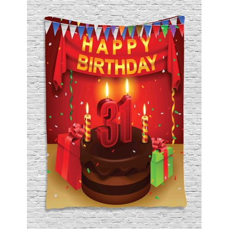 31st Birthday Decorations Tapestry Colorful Vibrant Party Set Up Gifts Candles Flags Confetti Rain