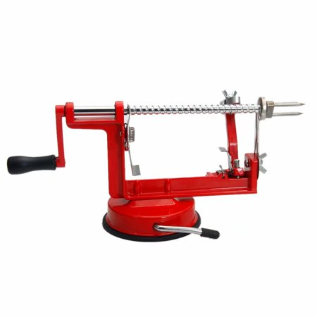 Akoyovwerve 3-in-1 Stainless Steel Hand-cranking Apple Peeler Corer Slicer Peeler Kitchen Tool Red