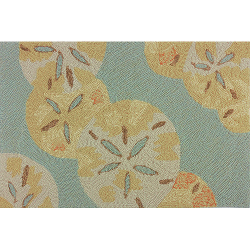 Homefires Sand Dollars by the Sea Blue/Gold Indoor/Outdoor Area Rug