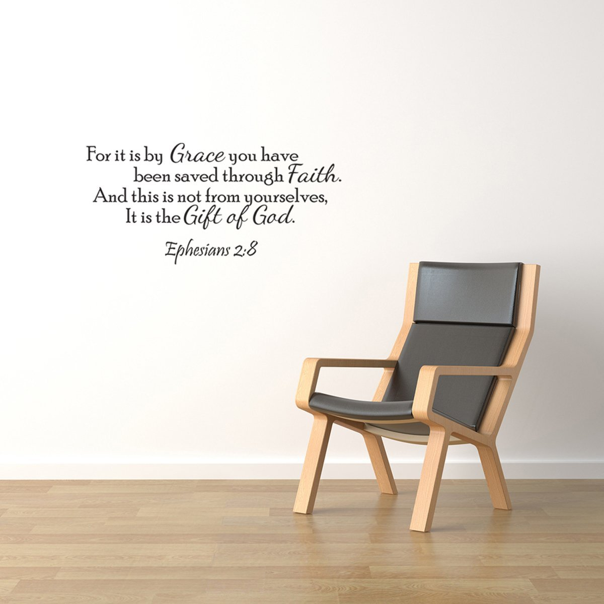 It Is By Grace Vinyl Wall Quote Decal Ephesians 2:8 God's Word Scripture J247