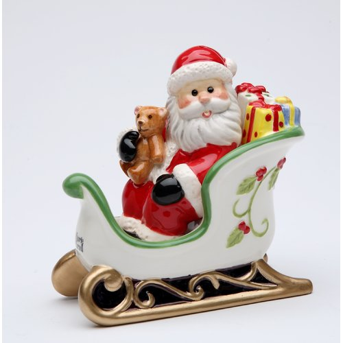 Cosmos Gifts Santa Sitting on the Sleigh Salt and Pepper Set