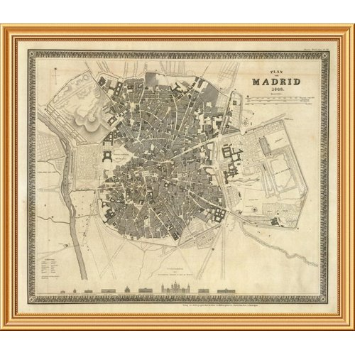 East Urban Home 'Madrid, Spain, 1844' Framed Graphic Art Print on Canvas