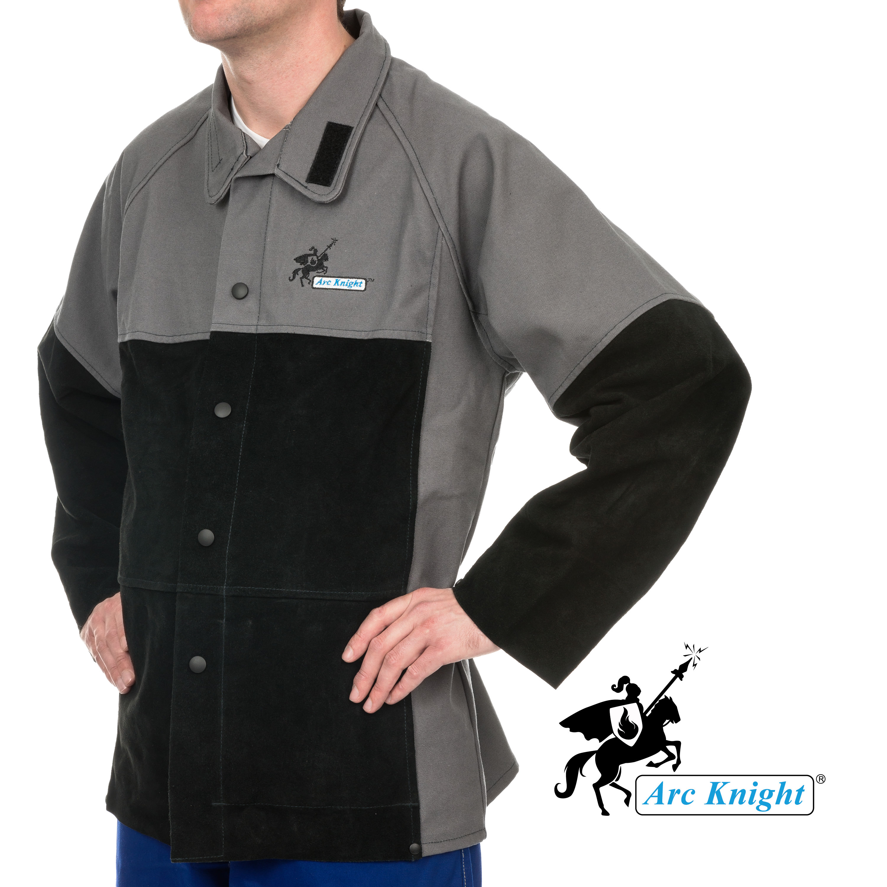Weldas® Arc Knight® Versatile Heavy Duty Welding Jacket - Cotton and Leather Sleeves - Grey/Black - Size L