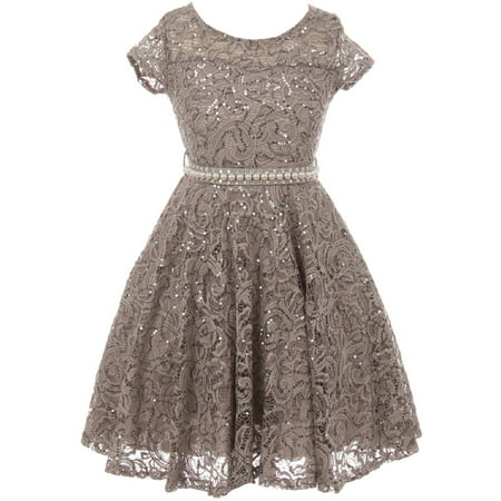 Little Girls Cap Sleeve Glitter Lace Pearl Holiday Junior Bridesmaid Flower Girl Dress USA Grey 2 (2J1K0S2)