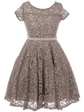 81f6d3590 Product Image Little Girls Cap Sleeve Glitter Lace Pearl Holiday Junior  Bridesmaid Flower Girl Dress USA Grey 2