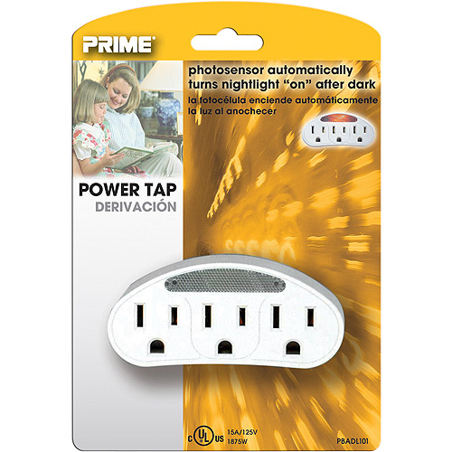 Prime Outlet Power Tap with Photocell Nightlight, White