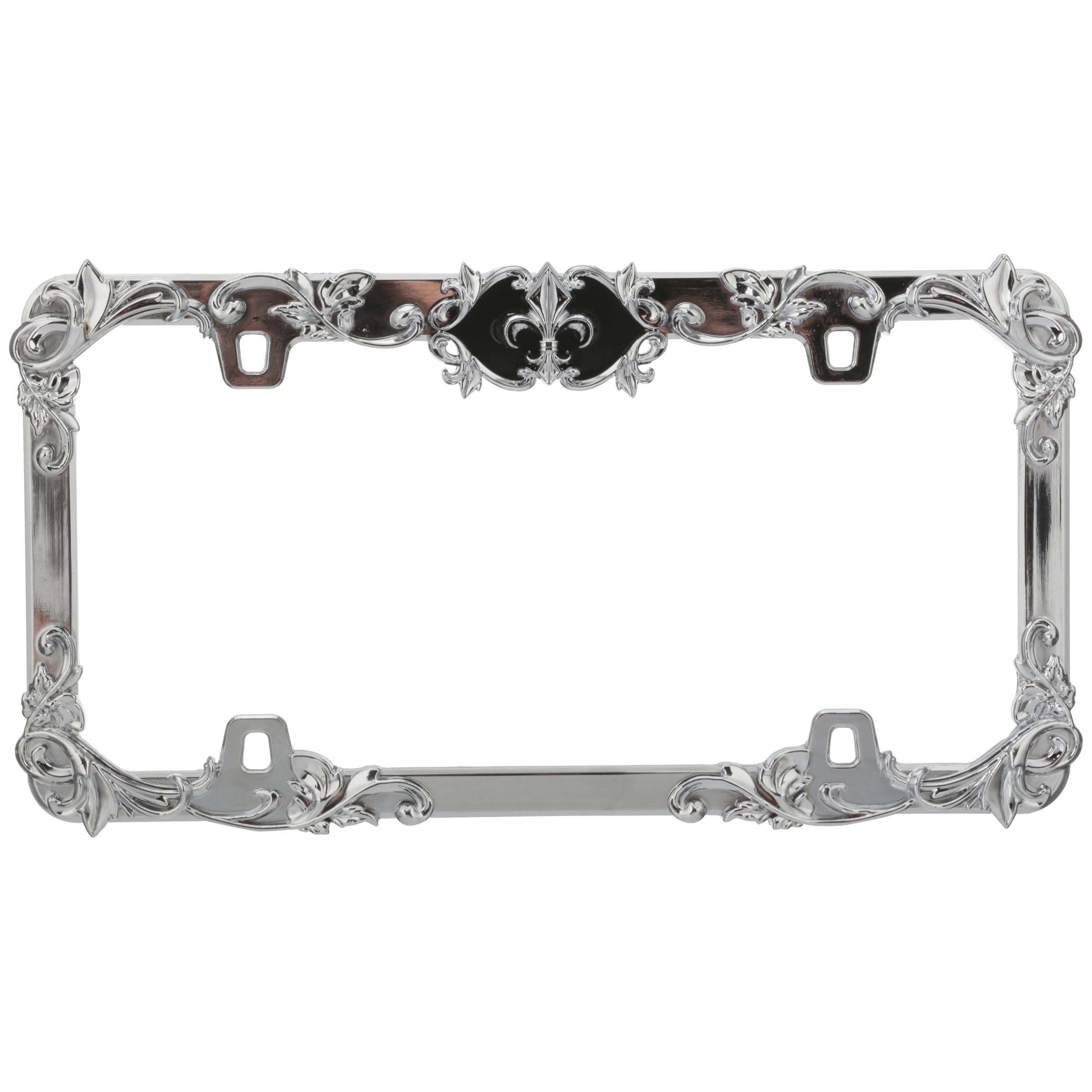 Cruiser Accessories® Fleur de Lis™ Adjustable™ Chrome/Black License Plate Cover