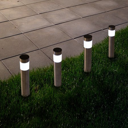 Solar Outdoor LED Light, Battery Operated Stainless Steel Path Walkway Lights for Landscape, Patio, Driveways and Pathways by Pure (Solar Led Landscape Light)