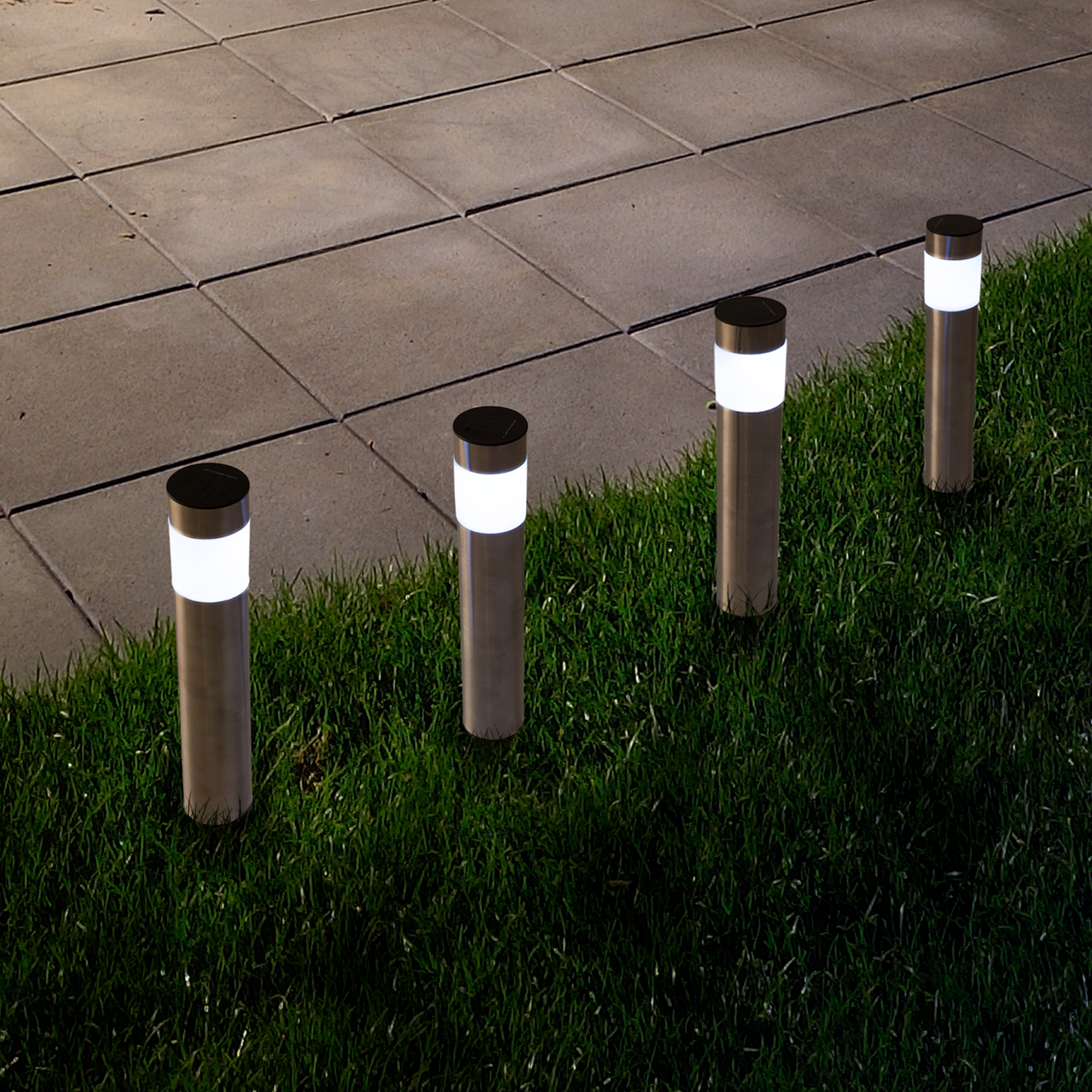 Solar Outdoor LED Light, Battery Operated Stainless Steel Path Walkway Lights for Landscape, Patio, Driveways and Pathways by Pure Garden