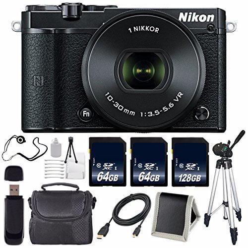 Nikon 1 J5 Mirrorless Digital Camera with 10-30mm Lens (Black) (International Model) No Warranty + Tripod + Carrying Case + Micro HDMI Cable + SD Card USB Reader + Memory Card Wallet Bundle