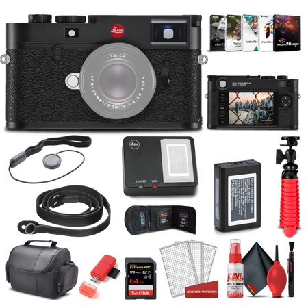 Leica M10 - R Digital Rangefinder Camera (Black Chrome) (20002) + 64GB Extreme Pro Card + Corel Photo Software + Card Reader + Case + Cleaning Set + Flex Tripod + Cap Keeper - Starter Bundle