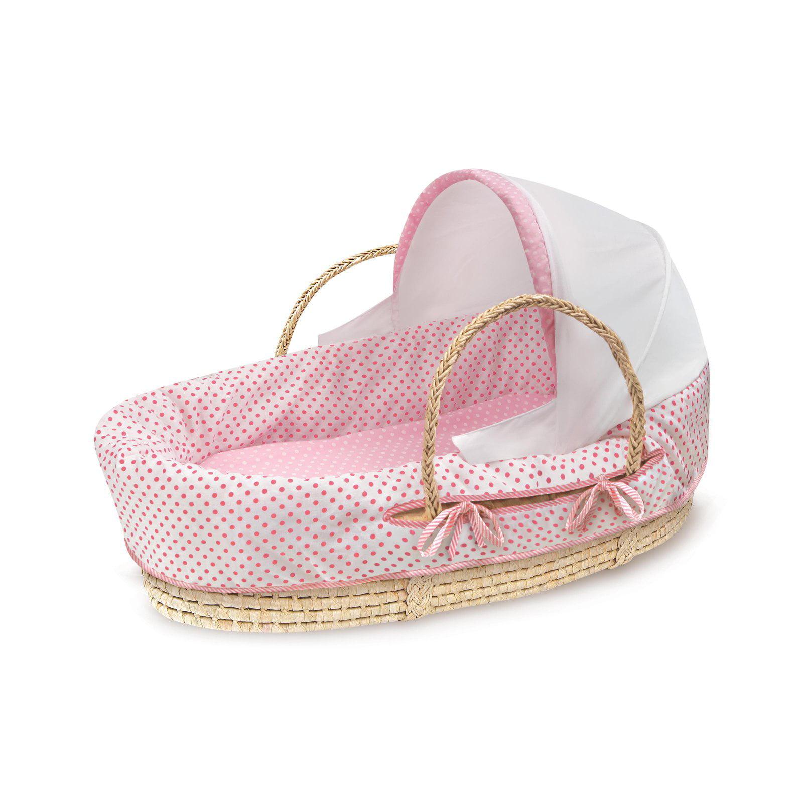 Badger Basket Natural Moses Basket with Fabric Canopy, Pink Polka Dot