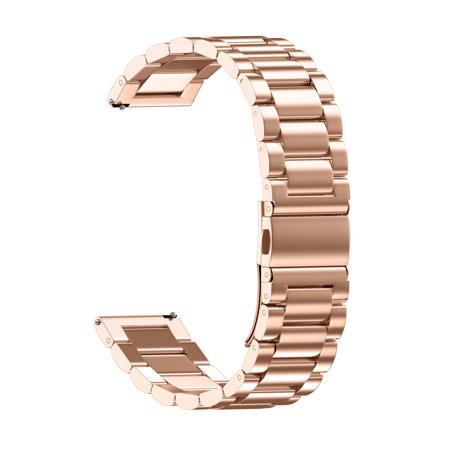 Universal Loop Stainless Steel Link Watch Strap Bands Strap Foldover Clasp 18MM (Gold Casio Watch Band)