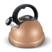 Elitra Whistling Kettle Stainless Steel Tea Pot with Stay Cool Handle - 3.1 Qt / 3 Liter - Rose Gold