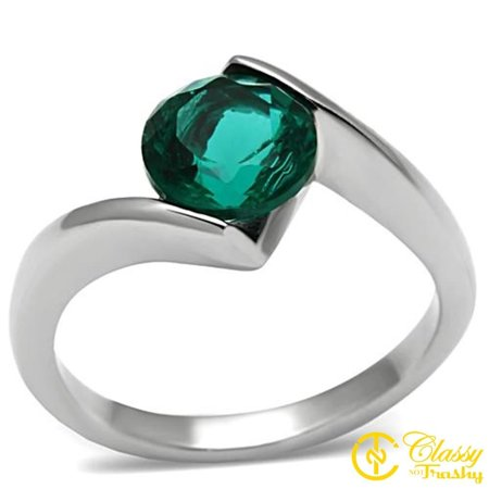 Glass Stone Ring - Classy Not Trashy® Women's 8 mm Stone Sized Stainless Steel Synthetic Glass Ring - Size 5