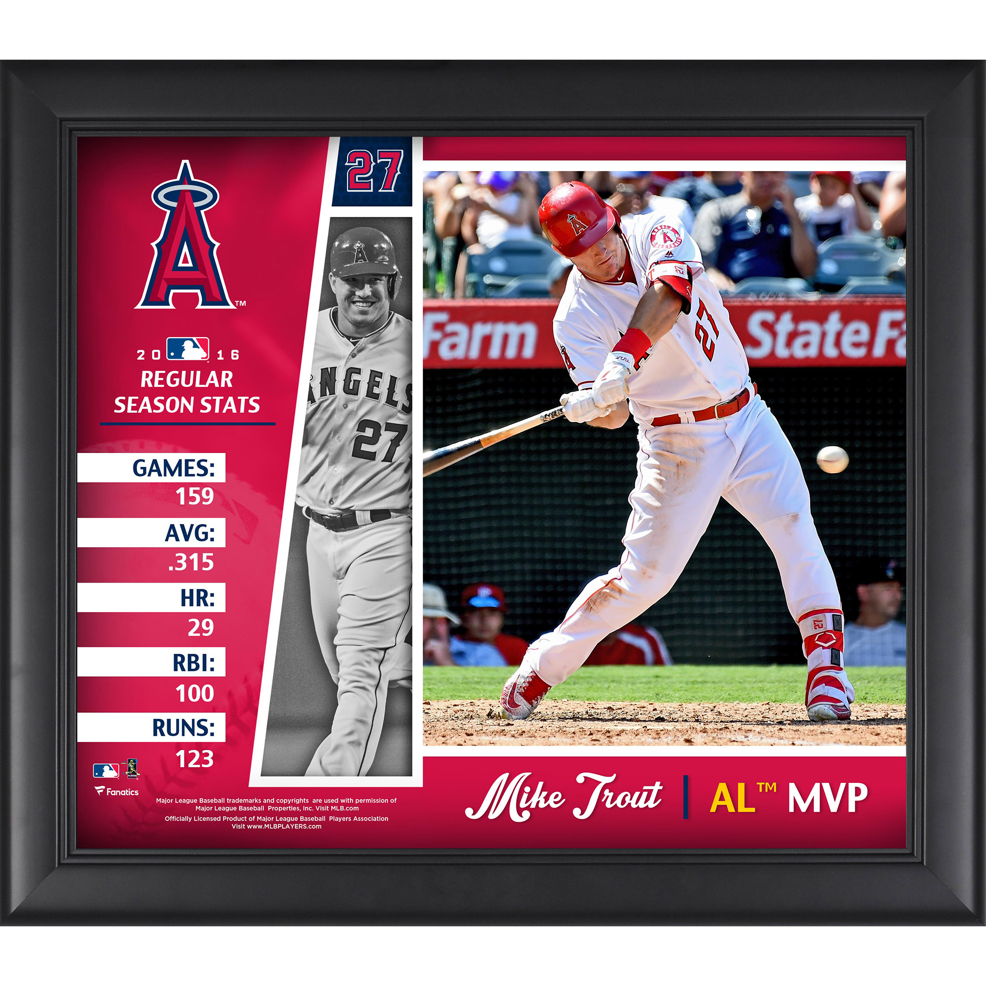 """Mike Trout Los Angeles Angels Framed 15"""" x 17"""" 2016 American League MVP Collage"""
