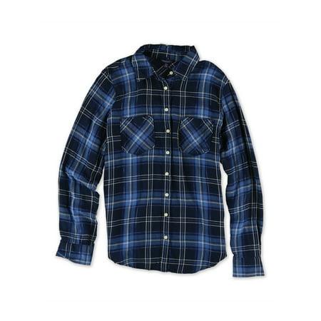Aeropostale Juniors Plaid Metallic Thread Button Up Shirt 404 S - Juniors - image 1 de 1
