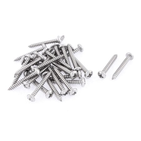 30 Pcs 3.5mmx25mm Stainless Steel  Round Head Sheet Self Tapping Screws - image 1 of 1
