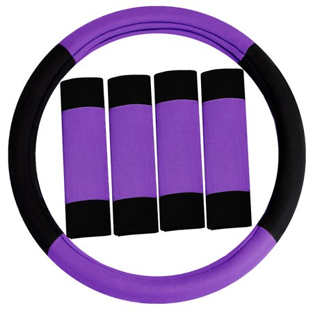 - FH GROUP Modernistic Steering Wheel Cover and Seat Belt Pads, Purple