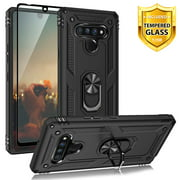 TJS Phone Case Compatible for LG Stylo 6, with [Full Coverage Tempered Glass Screen Protector][Impact Resistant][Defender][Metal Ring][Magnetic Support] Protector Armor Cover (Black)