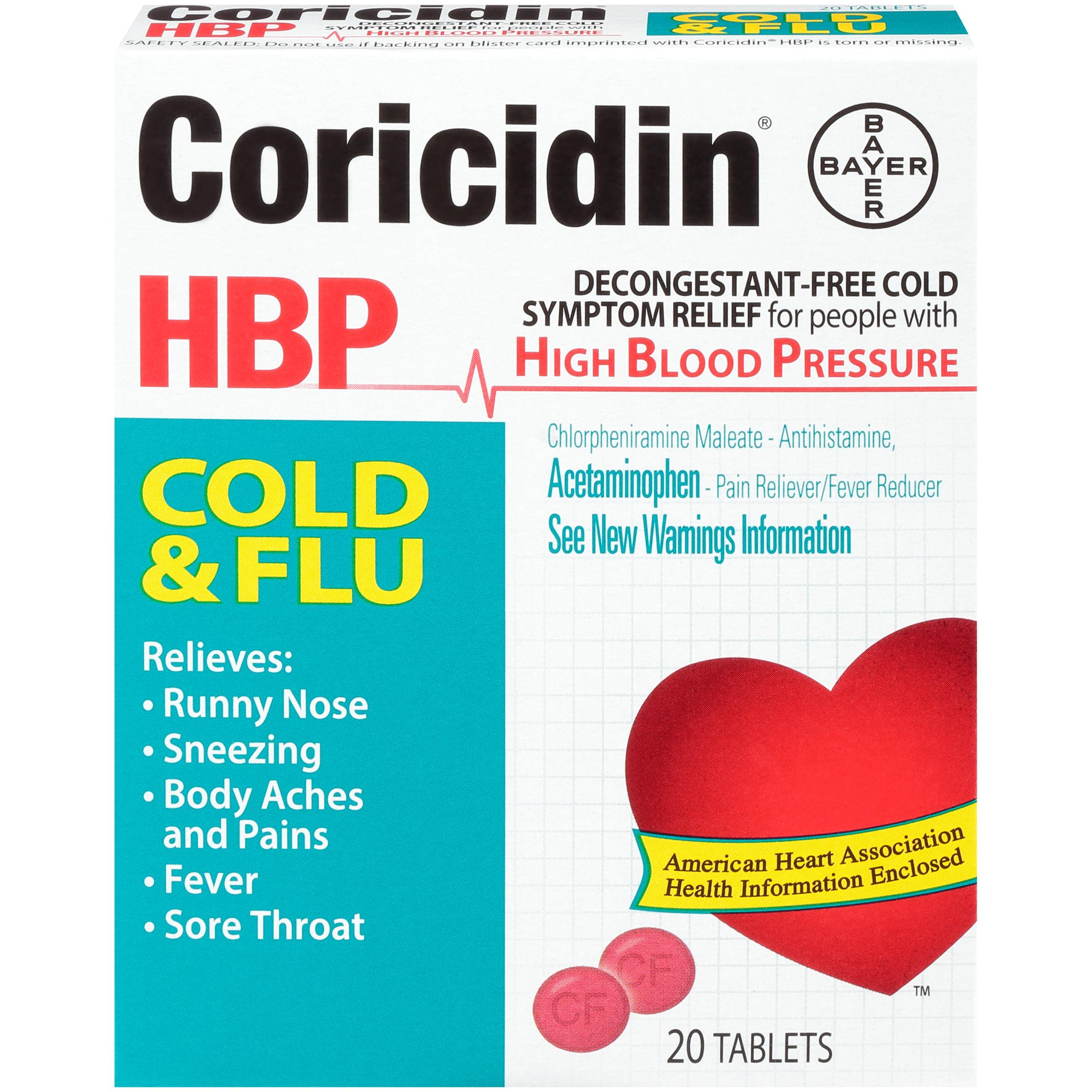 Coricidin HBP, Cold & Flu Tablets, 20 CT