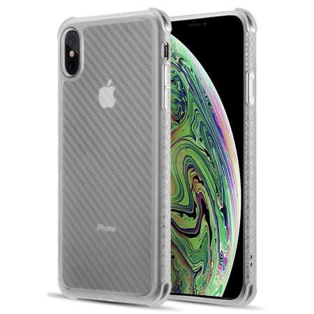 Carbon Fiber Reinforced (iPhone Xs Max Case, Nakedcellphone Flexible TPU Slim Cover [Carbon Fiber Pattern] Anti-Shock Reinforced Corners for Apple iPhone Xs Max (10s Max) )