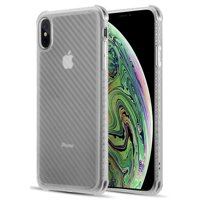 iPhone Xs Max Case, Nakedcellphone Flexible TPU Slim Cover [Carbon Fiber Pattern] Anti-Shock Reinforced Corners for Apple iPhone Xs Max (10s Max)