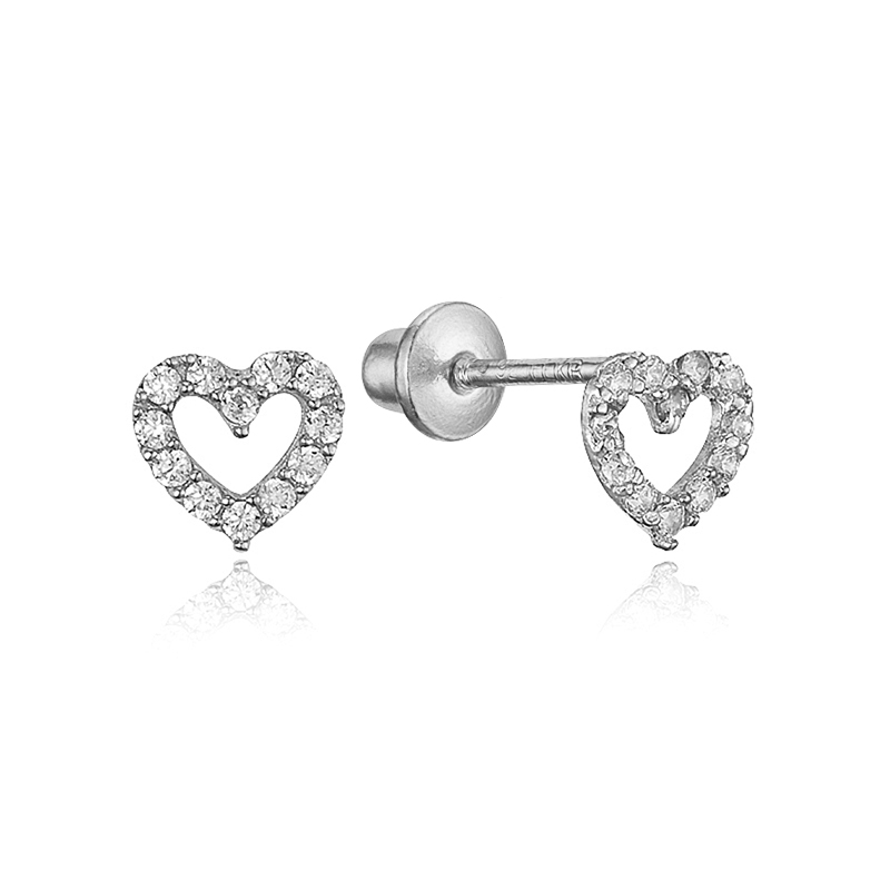 Sterling Silver Rhodium Plated Open Heart Cubic Zirconia Stud Screwback Baby Girls Earrings