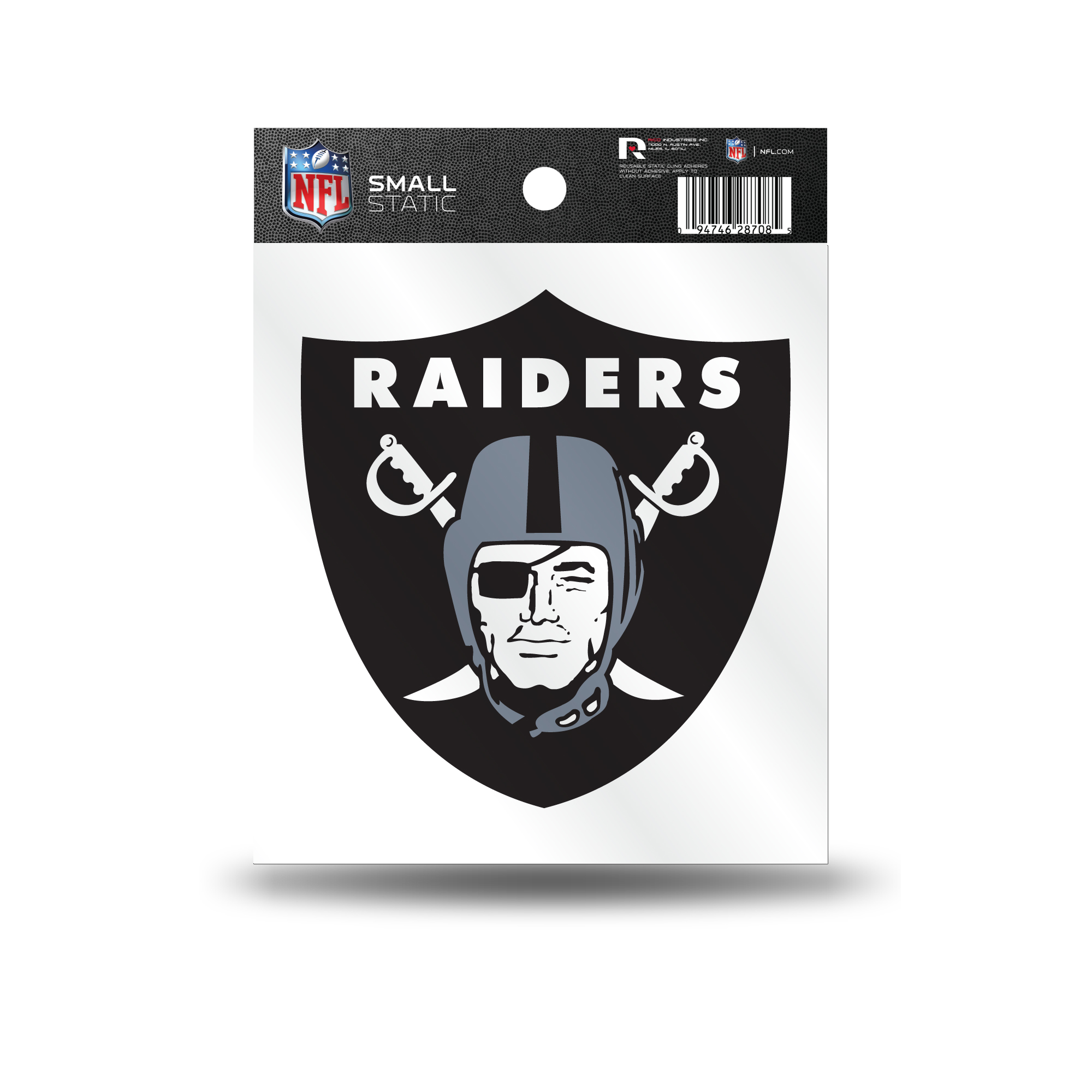 Oakland Raiders Official NFL 3.5 inch  Small Static Cling Window Car Decal by Rico Industries