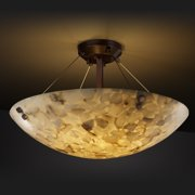 Justice Design Group 3-light Round Alabaster Rocks Dark Bronze Semi-flush Fixture